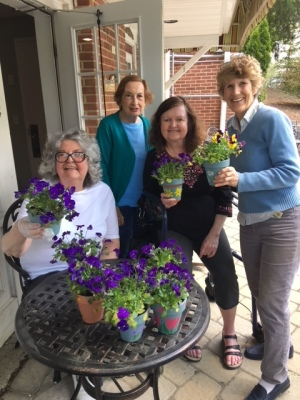 Creative Arts paints and adds flowers to Garden Pots for Knoll View Seniors  -May 2018